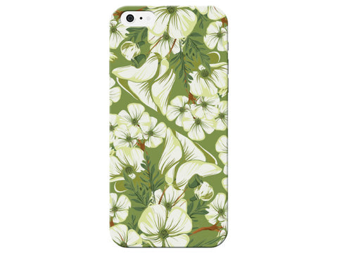 White Flower Print Phone Case