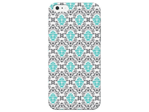 Turquoise & Grey Damask Pattern Phone Case