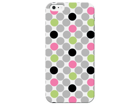 Polka Dot Black, Pink, & Green Phone Case