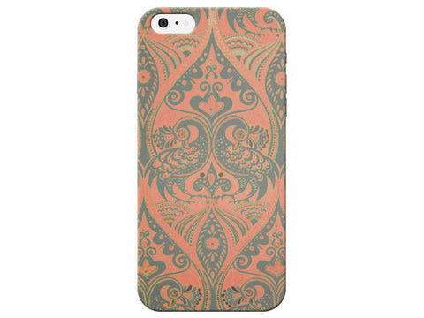 Cute Peacock Design Orange & Grey Phone Case