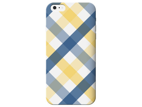 Yellow & Blue Plaid Printed Phone Case