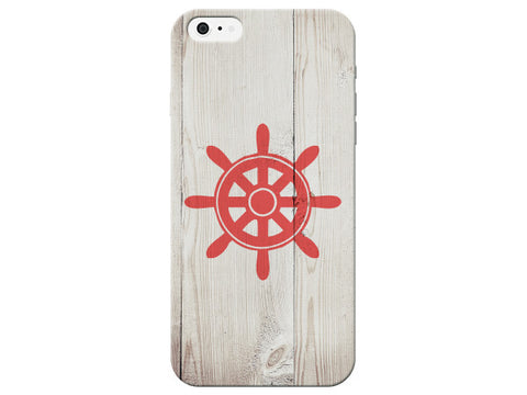 Nautical Red Ship Wheel Phone Case