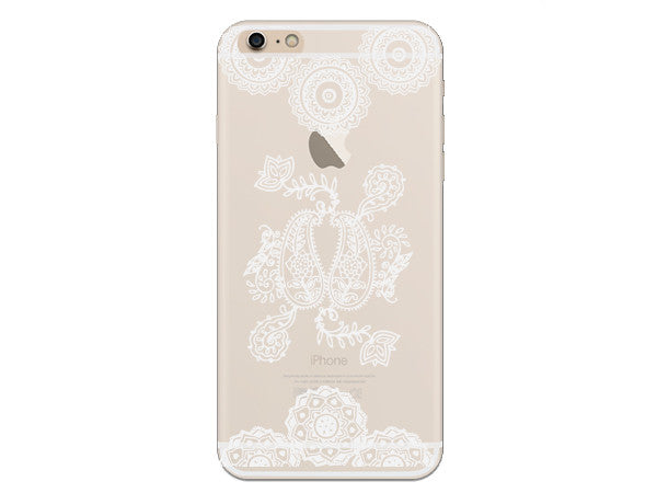 White Henna Inspired Mandala Clear Phone Case