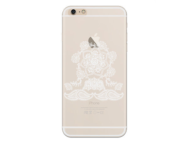 White Mandala Inspired Zen Tangle Clear Phone Case