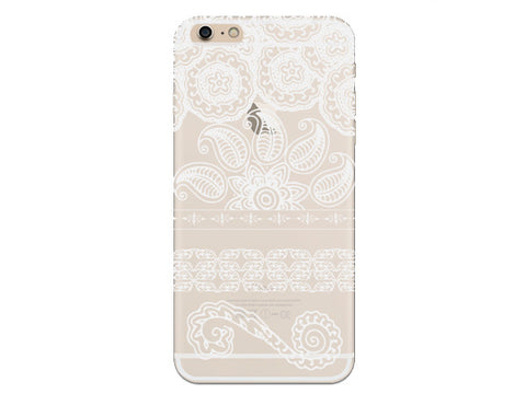 White Mandala Inspired Swirl Clear Phone Case