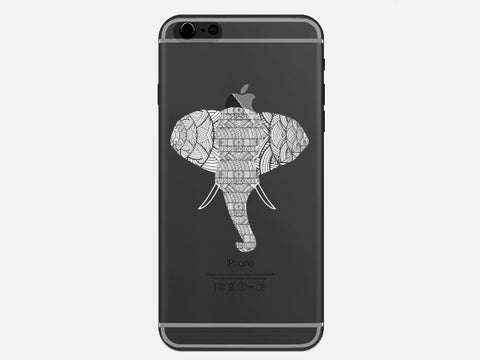 White Aztec Elephant Head Clear Phone Case