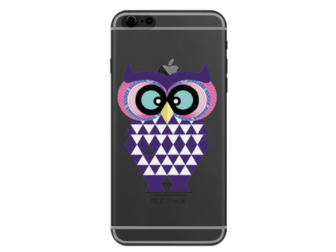 Purple Geometric Owl on a Clear Phone Case