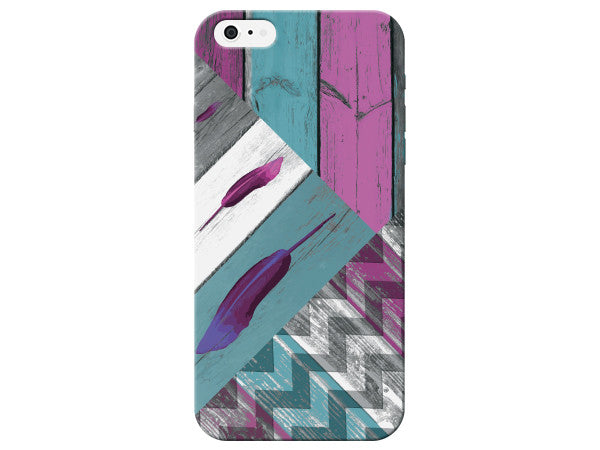 Striped Feather Chevron Wood Grain Phone Case