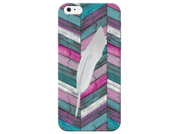 Bright Wood Grain Chevron with Feather Phone Cover