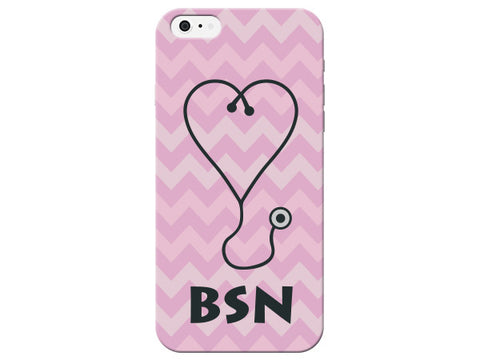 Chevron Stethoscope Bachelor of Science in Nursing Pink Phone Case