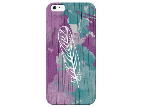Painted Wood Grain Feather Phone Case