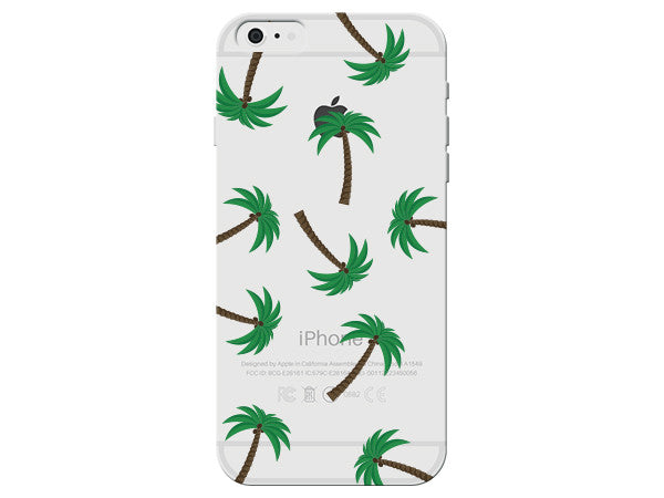 Palm Tree Collage Clear Phone Case
