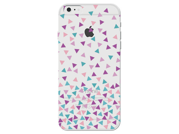 Purple, Turquoise, and Pink Clear Triangle Phone Case