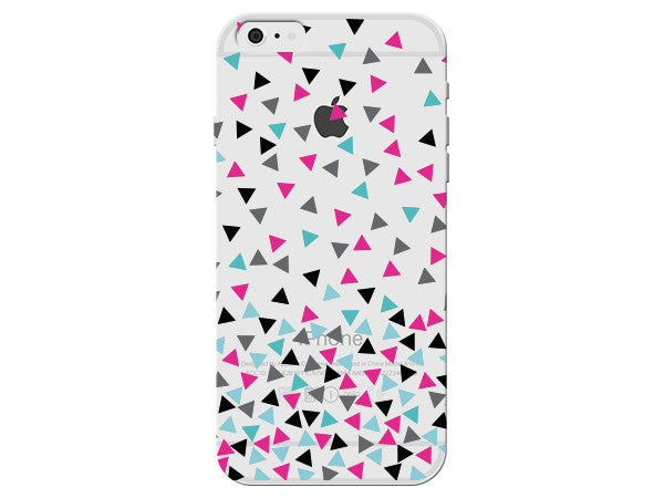 Turquoise, Black, and Pink Clear Triangle Phone Case