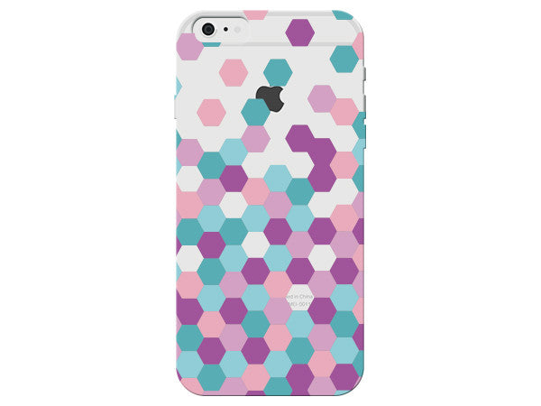Pink, Purple, Turquoise, and Gray Clear Hexagon Phone Case