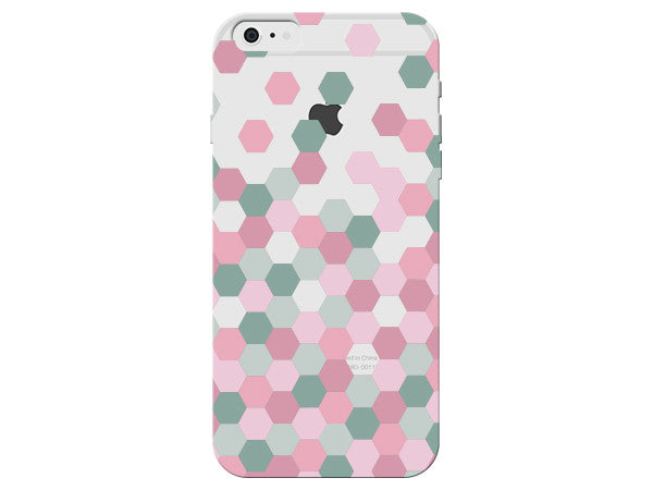 Pink and Gray Clear Hexagon Phone Case