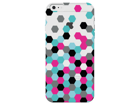 Fuchsia Turquoise Black Clear Hexagon Phone Case