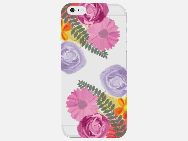 Clear Phone Case with Painterly Flowers