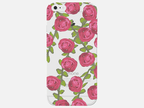 Phone Case with Faded Rose Flower Pattern
