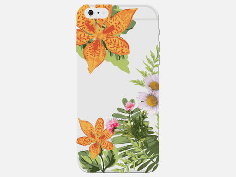 Clear Tropical Flower Phone Case