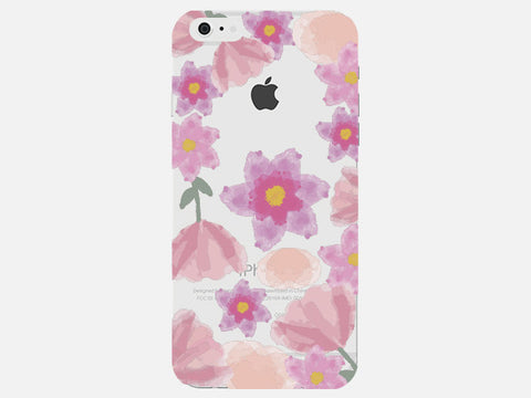 Large Pink Clear Floral Pattern Phone Cover