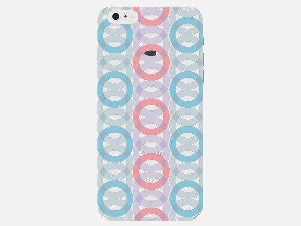 Pink and Blue Geometric Circles Clear Phone Cover