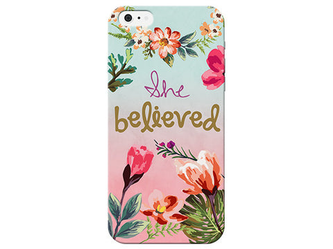 """She Believed"" Inspirational Floral Phone Cover"