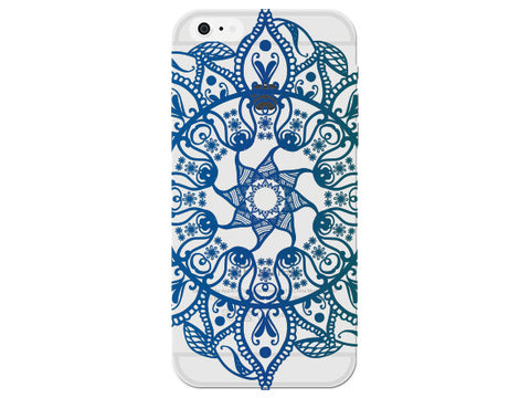 Blue Star Mandala Circle Phone Back Cover