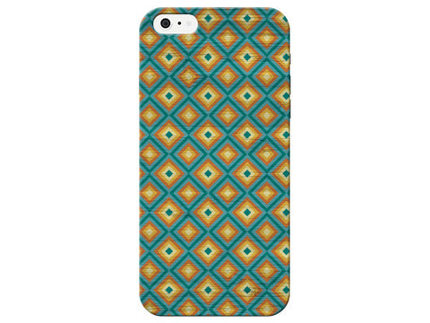 Teal and Yellow Diamonds Pattern Phone Case