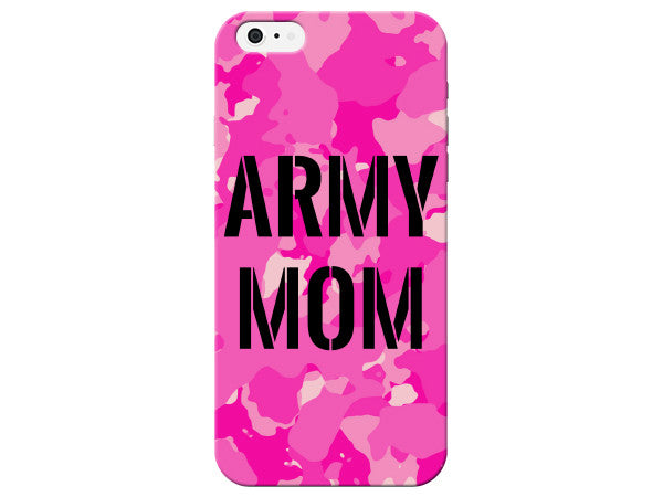 Black Stencil Army Mom Pink Camo Phone Case