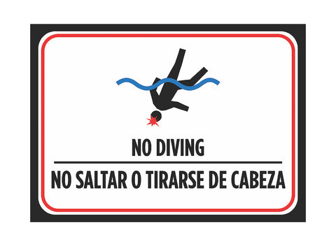 """No Diving - No Saltar O Tirarse De Cabeza"" Spanish Swimming Pool Sign"