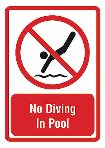"""No Diving In Pool"" Bottom Caution Swimming Pool Sign"
