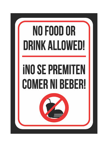 """No Food Or Drink Aloud! - No Se Premiten Comer Ni Bever!"" Spanish Swimming Pool Sign"