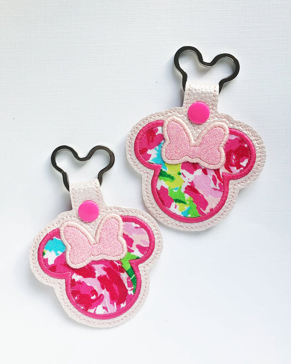 Hotty Pink Miss Mouse Key Chain (pearl)