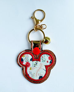 Christmas Floral Mouse Key Chain
