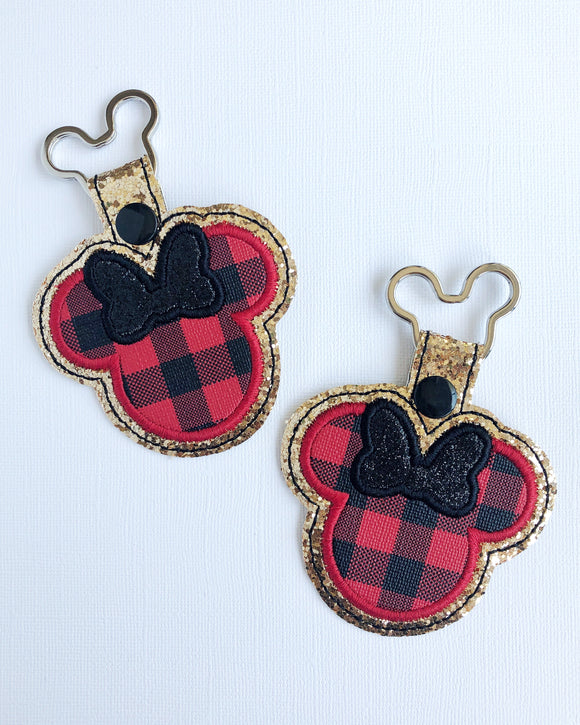 Miss Mouse Buffalo Plaid Key Chain