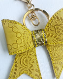 Embossed Lace Bow Key Chain