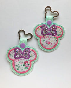 Spring Floral Miss Mouse Key Chain