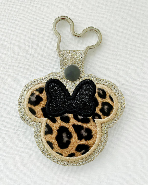 Miss Mouse Leopard Key Chain (Black Bow)