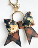 Fall Floral Plaid Bow Key Chain