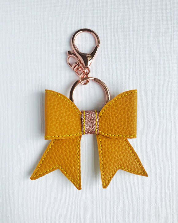 Mustard Bow Key Chain