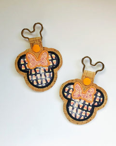 Candy Corn Miss Mouse keychain
