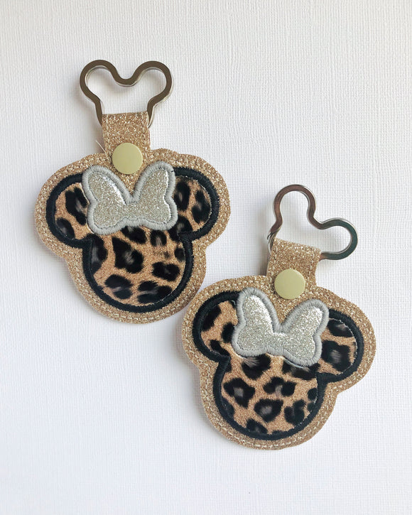 Miss Mouse Leopard Key Chain (Gold Background)