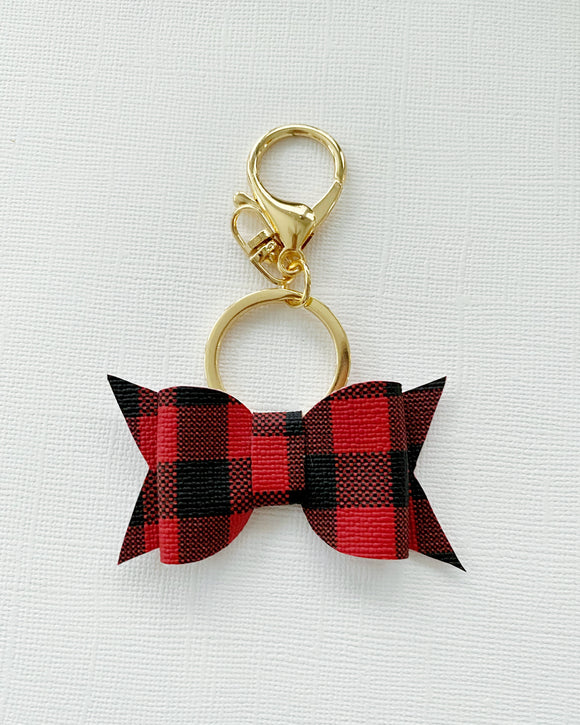 Red Buffalo Plaid Bow Keychain
