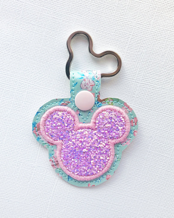 Pink Floral Glitter Mouse Key Chain