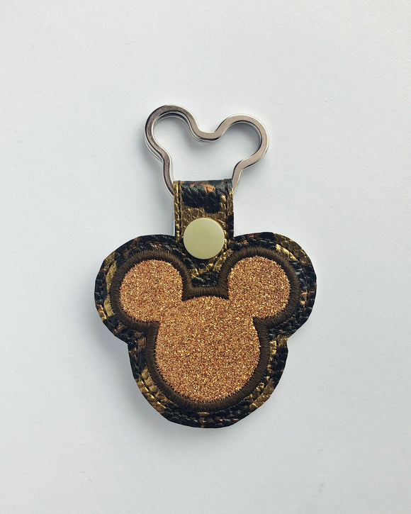 Copper Animal Print Mouse Key Chain