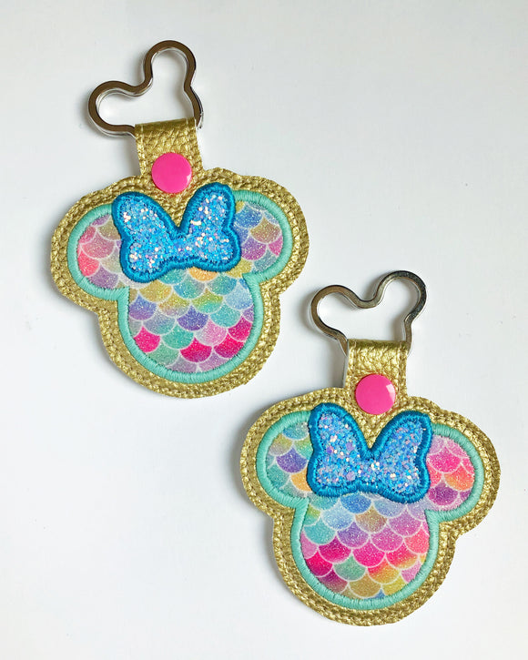 Rainbow Mermaid Miss Mouse Key Chain
