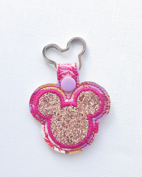Rose Gold Floral Mouse Key Chain