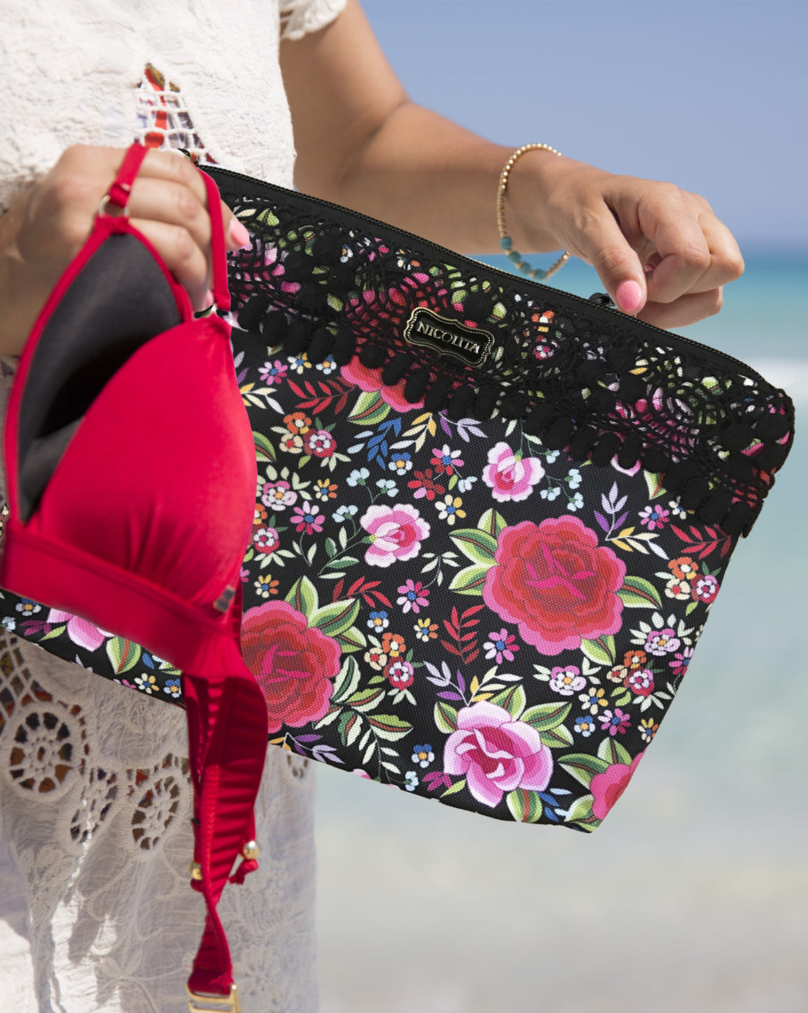 Small Bikini Bag - Spanish Rose