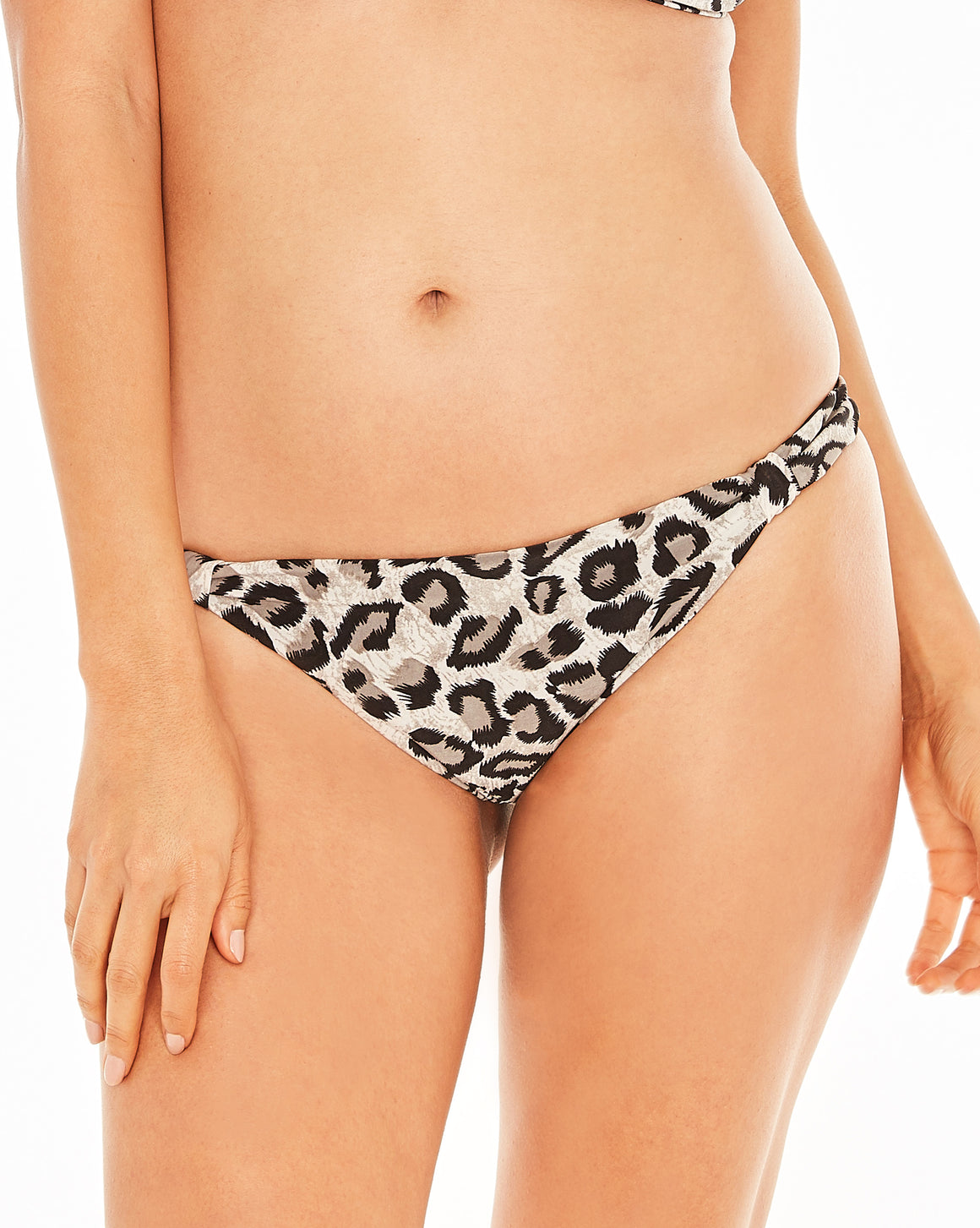Reversible Leopard style print bottom with adjustable sliders and shirred backside